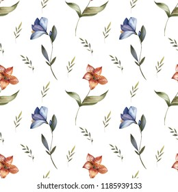 Watercolor seamless pattern from vintage flowers. Excellent for textile and packaging design