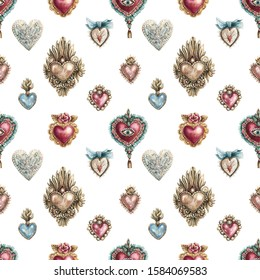 Watercolor seamless pattern with vintage hearts of gold, precious stones in vintage style. Vintage background with valentines day and other romantic events.
