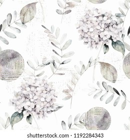 Watercolor seamless pattern. Vintage print with hortensia flowers, eucalyptus branches and abstract gold elements. Hand drawn illustration