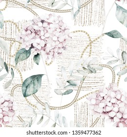 Watercolor seamless pattern. Vintage print with hortensia flowers, gold chains and eucalyptus branches. Hand drawn illustration