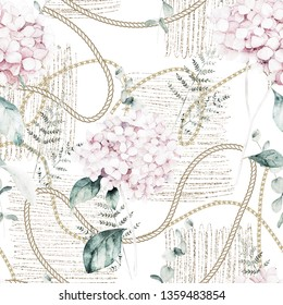 Watercolor seamless pattern. Vintage print with hortensia flowers, gold chains and fern branches. Hand drawn illustration
