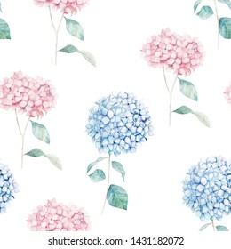 Watercolor seamless pattern. Vintage print with hortensia flowers. Hand drawn illustration