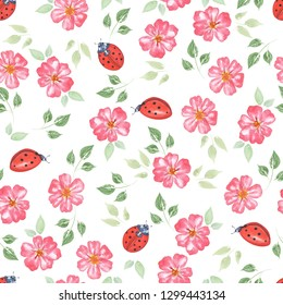 Watercolor seamless pattern. Vintage Red roses.Flowers and leaves, ladybug . Summer and spring watercolor illustration. Botanical texture. Can be used for a poster, printing on fabric. Nature.