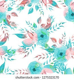 Watercolor seamless pattern. Vintage turquoise roses.