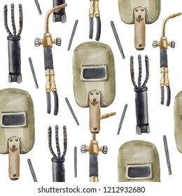 Watercolor seamless pattern in which there is a vintage welding mask made of cardboard, gas cutter, antique electrode holder and electrode. This pattern is on the subject of welders.