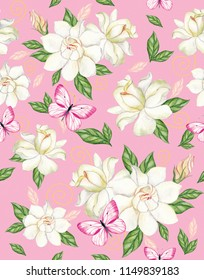 Watercolor seamless pattern with white gardenia and pink butterflies on a pink background. Perfectly suitable for drawing on fabric, wallpaper.