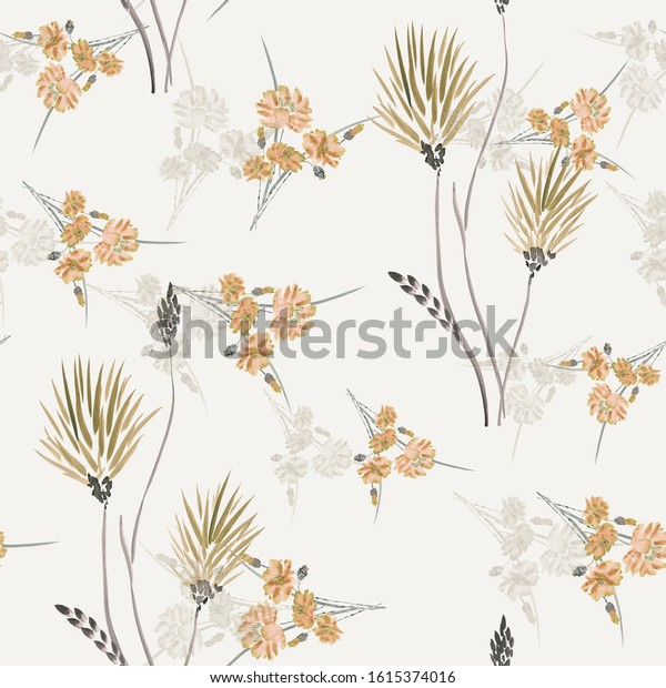 Watercolor seamless pattern of wild beige and orange flowers on a light beige background