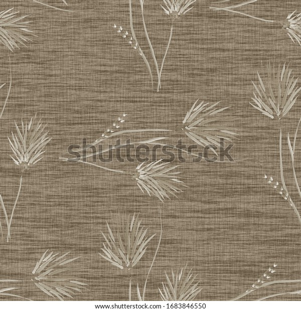 Watercolor seamless pattern of wild beige flowers on a dark beige background