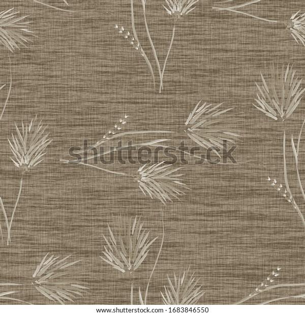 Watercolor seamless pattern of wild beige flowers on a dark beige background