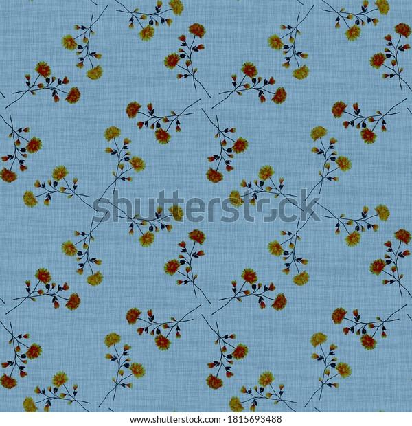 Watercolor seamless pattern wild  beige flowers on a linen blue background. Ornament