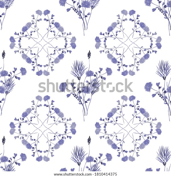 Watercolor seamless pattern wild  blue flowers on a white background. Ornament