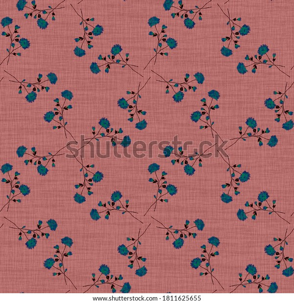 Watercolor seamless pattern wild  blue flowers on a linen dark pink background. Ornament -5
