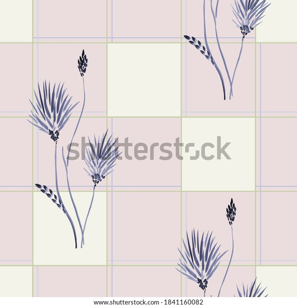 Watercolor seamless pattern of wild blue flowers in a green cell on a pink background -2