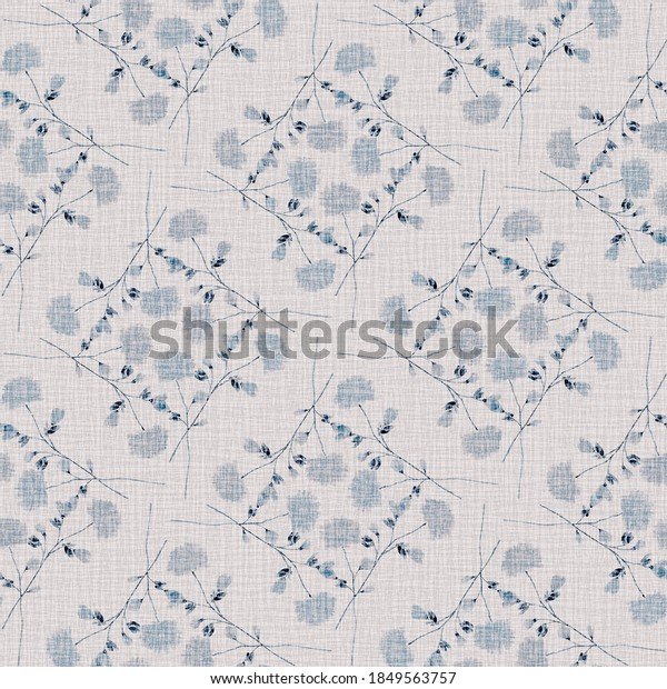 Watercolor seamless pattern wild  blue flowers on a linen pink background