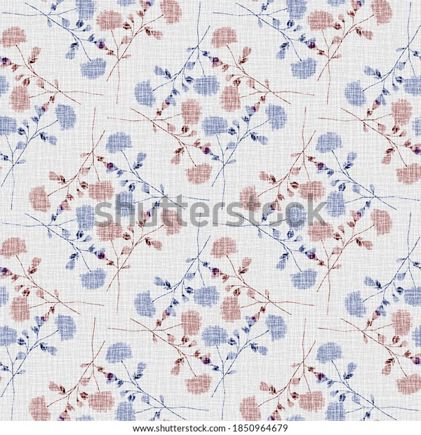 Watercolor seamless pattern wild  blue and red flowers on a linen gray background