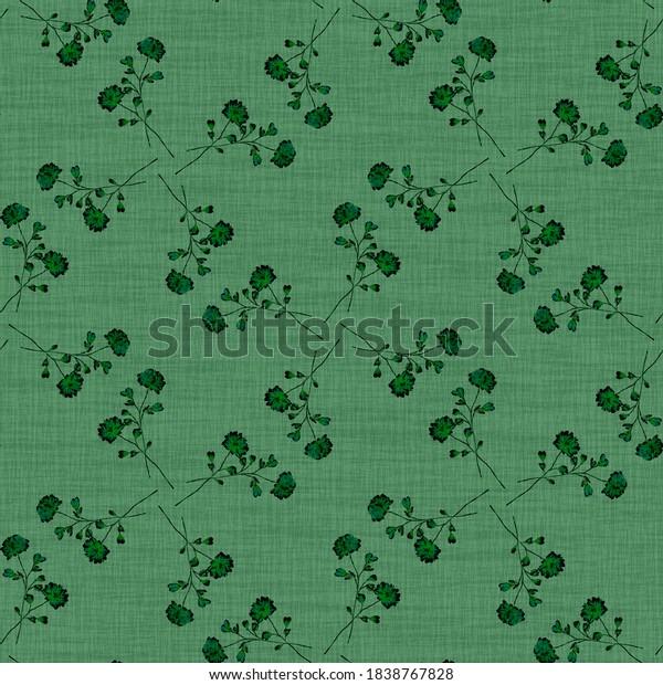 Watercolor seamless pattern wild   dark flowers on a linen green background. Ornament