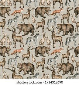 Watercolor seamless pattern with wild forest animals. Bear, deer, wolf, fox, hare. Background with woodland animal for textile, wrapping, covers, decoration.
