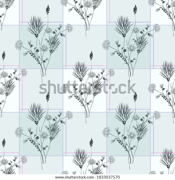 Watercolor seamless pattern of wild gray flowers in a pink cell with blue squares on a light turquoise background