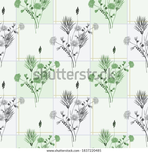 Watercolor seamless pattern of wild gray and green flowers in a gray cell with green and gray squares on a light green background