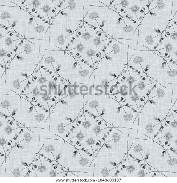Watercolor seamless pattern wild  gray flowers on a linen gray background -6