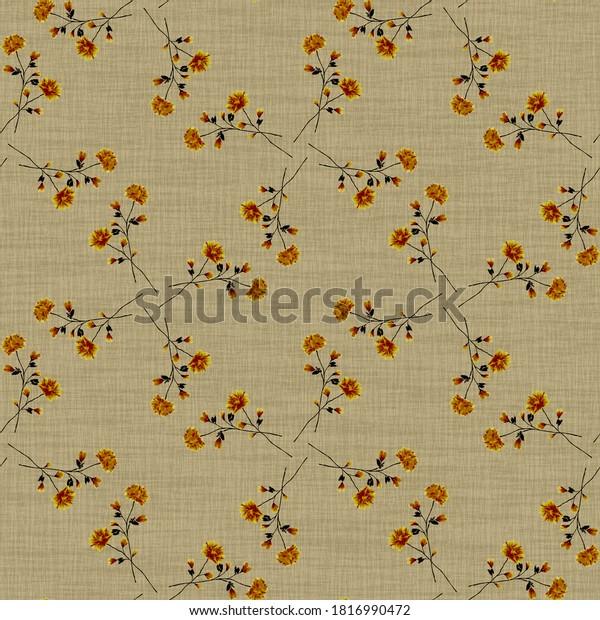 Watercolor seamless pattern wild  orange flowers on a linen beige background. Ornament