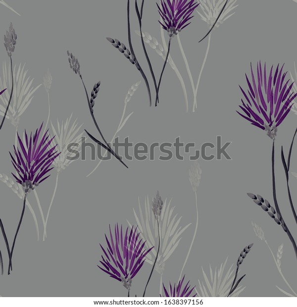 Watercolor seamless pattern of wild  pink and beige flowers on a dark gray background