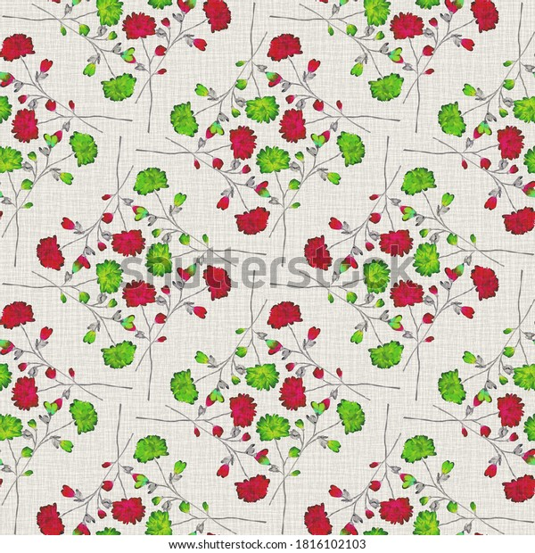 Watercolor seamless pattern wild  red and green flowers on a gray background. Ornament