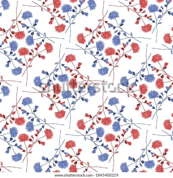 Watercolor seamless pattern wild  red and blue flowers on a white background. Ornament- 6