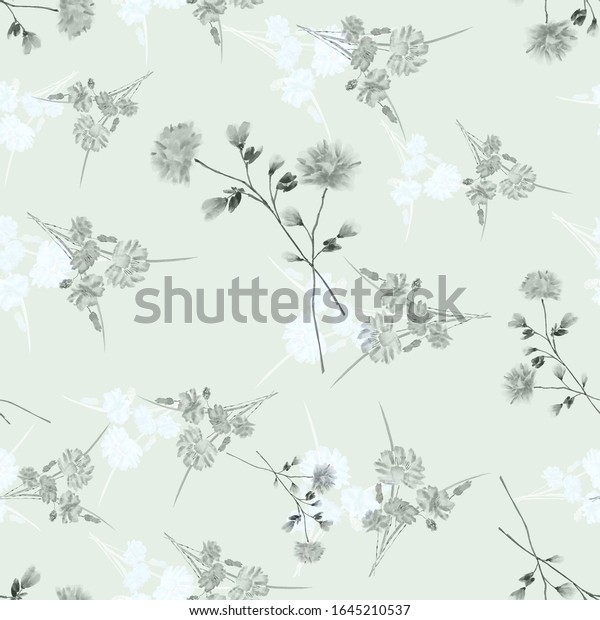 Watercolor seamless pattern of wild, small gray and light blue flowers on a   green background