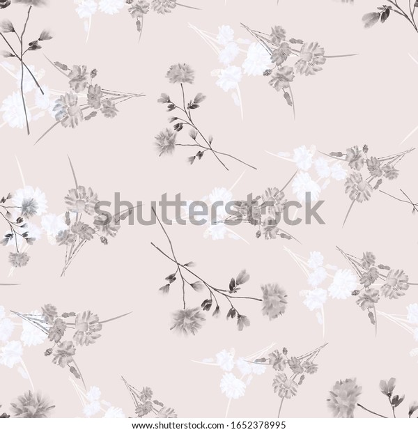 Watercolor seamless pattern of wild, small gray and white flowers on a pink  background