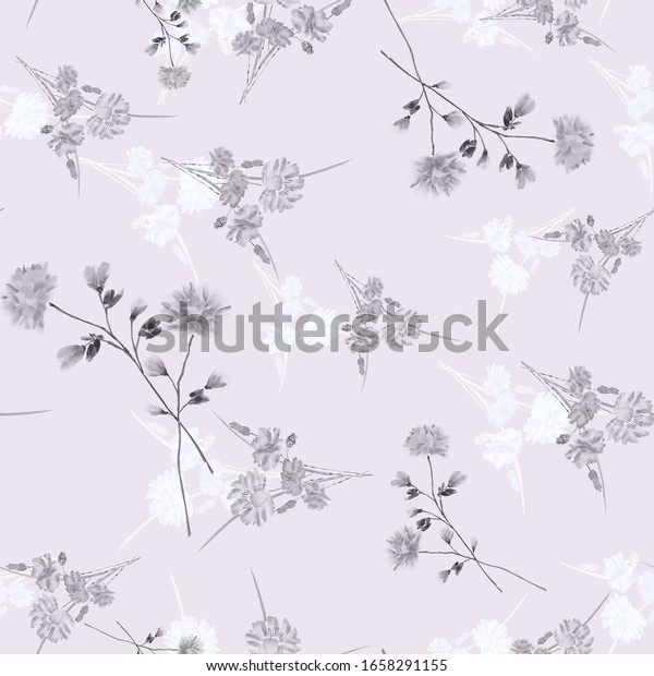 Watercolor seamless pattern of wild, small gray and white flowers on a light violet background