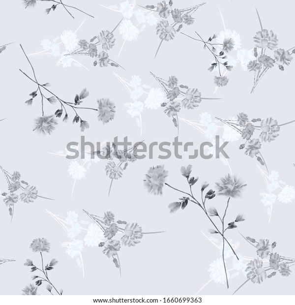 Watercolor seamless pattern of wild, small gray flowers on a light blue background