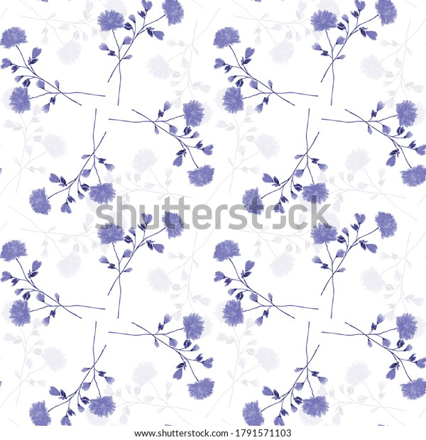 Watercolor seamless pattern wild small blue flowers on a white background. Ornament -3