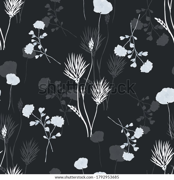 Watercolor seamless pattern of wild small white and gray flowers on the black background -3
