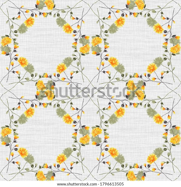 Watercolor seamless pattern wild small yellow and green flowers on a gray background. Ornament -3