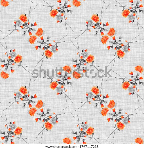 Watercolor seamless pattern wild small red flowers and gray branch on a gray background. Ornament -4
