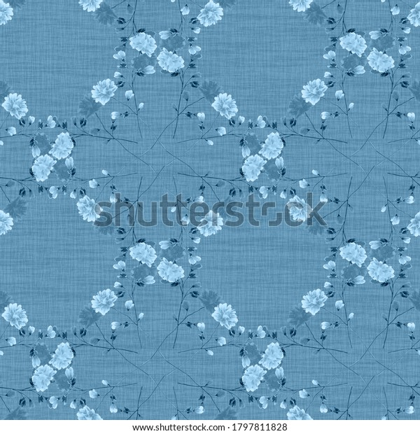 Watercolor seamless pattern wild small blue flowers on a dark blue background. Ornament -4