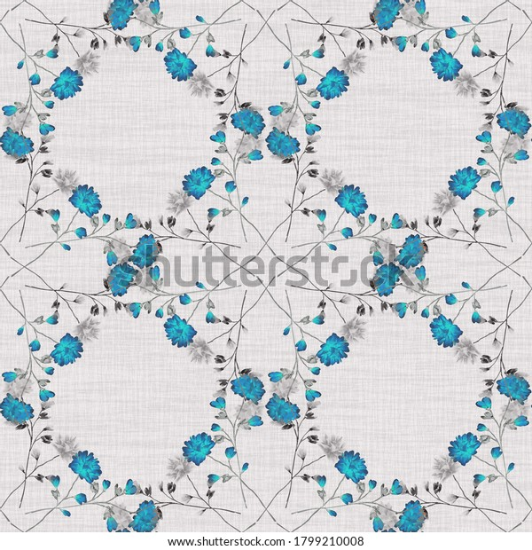 Watercolor seamless pattern wild small turquoise and gray flowers on a linen beige background. Ornament