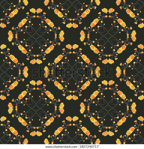 Watercolor seamless pattern wild small yellow flowers on   the black background. Ornament -4
