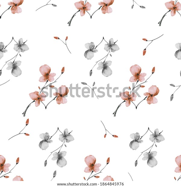 Watercolor seamless pattern wild small orange and gray flowers on a white background