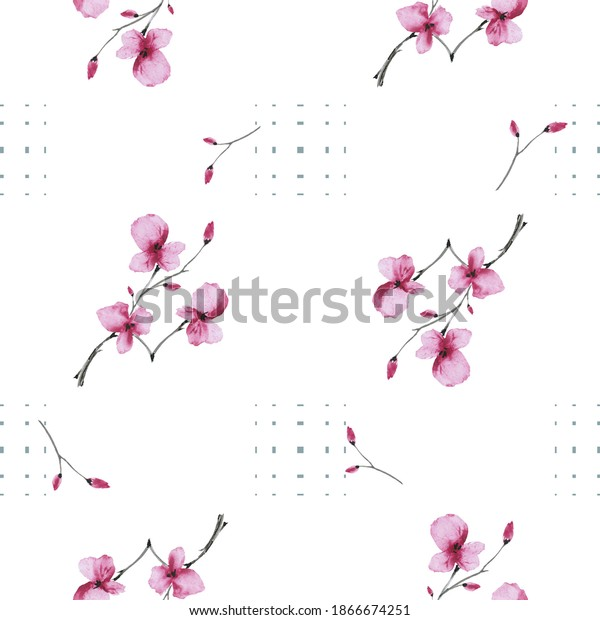 Watercolor seamless pattern wild small pink flowers on a white background with dark squares