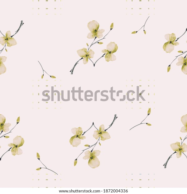 Watercolor seamless pattern wild small pink flowers on a light pink background with dark squares