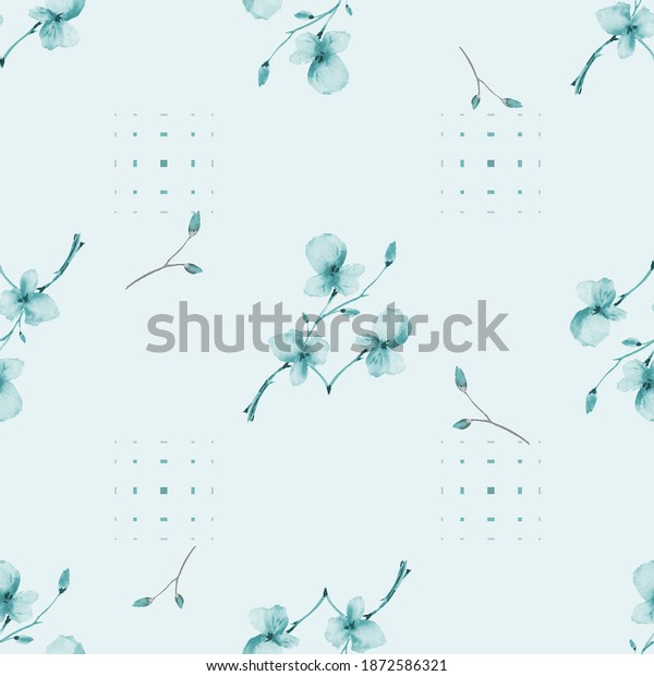 Watercolor seamless pattern wild small blue flowers on a blue background with dark squares