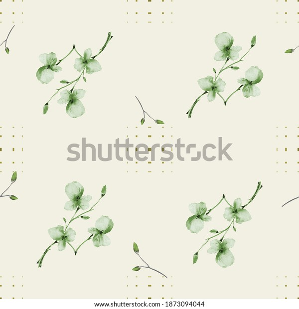 Watercolor seamless pattern wild small green flowers on a yellow background with dark squares