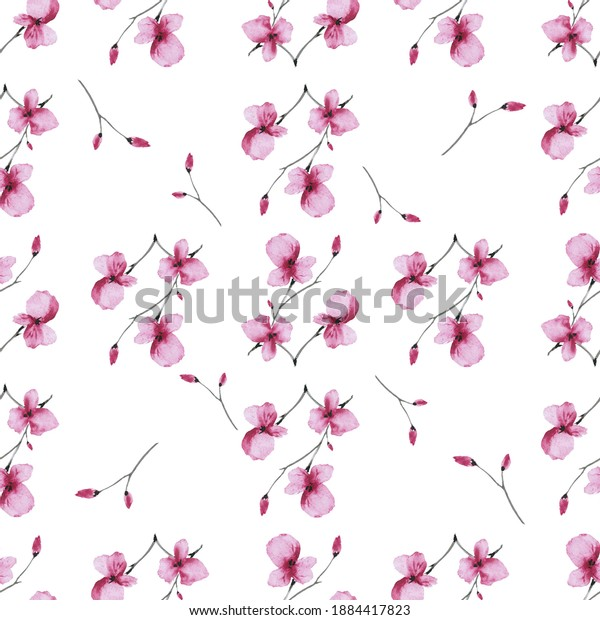 Watercolor seamless pattern wild small pink flowers with cell on a white background