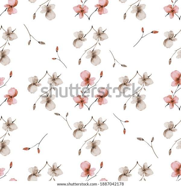Watercolor seamless pattern wild small orange and beige flowers with cell on a white background