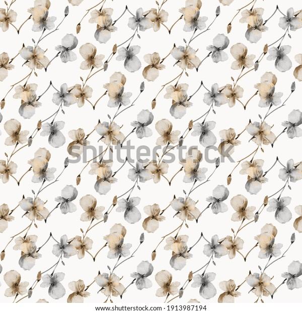 Watercolor seamless pattern of wild small beige and gray flowers on a light beige background. Floral background