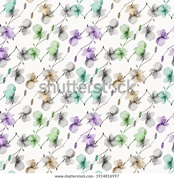 Watercolor seamless pattern of wild small violet, green, beige, gray flowers on a light gray background. Floral background