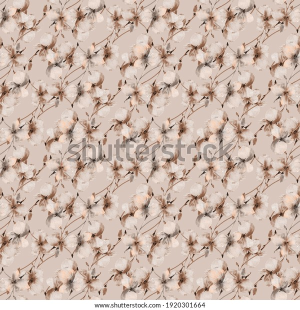 Watercolor seamless pattern of wild small beige and gray flowers on a  beige background. Floral background