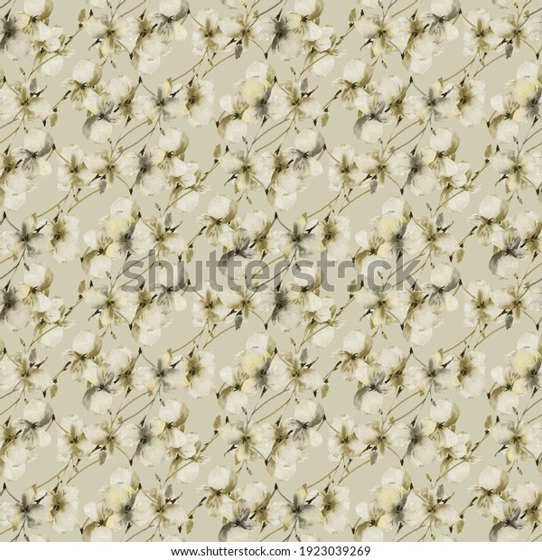 Watercolor seamless pattern of wild small green and gray flowers on a green background. Floral background